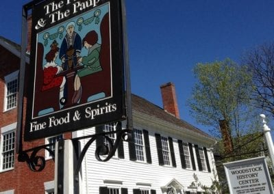 Old fashion sign for the Prince and The Pauper Restaurant