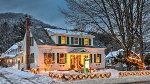 The Woodstocker B&B with Christmas lights