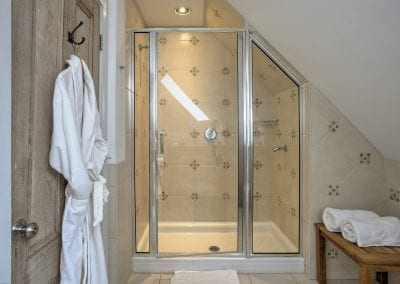 Shower with glass door and robe