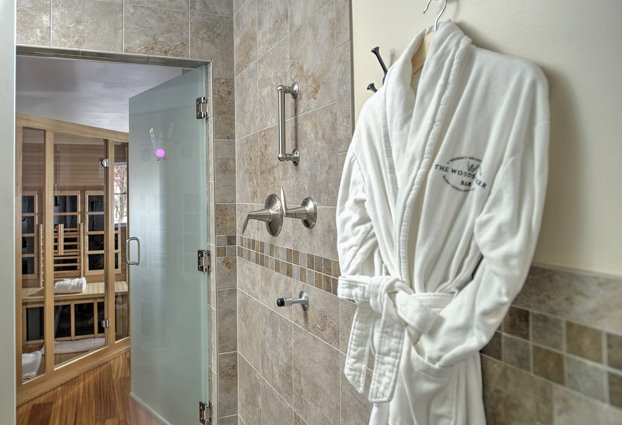 Robe and walk-in shower