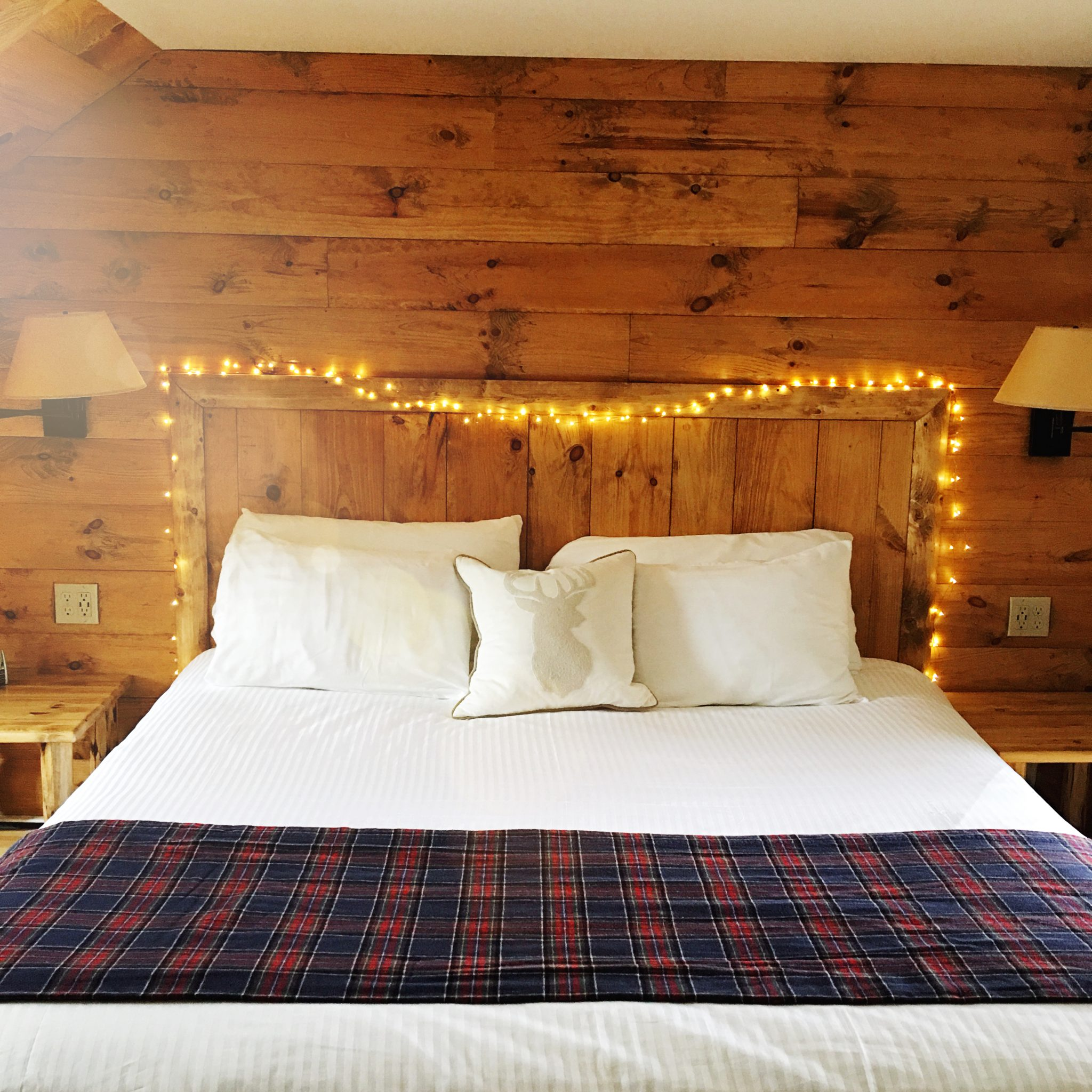 wooden bedframe with lights