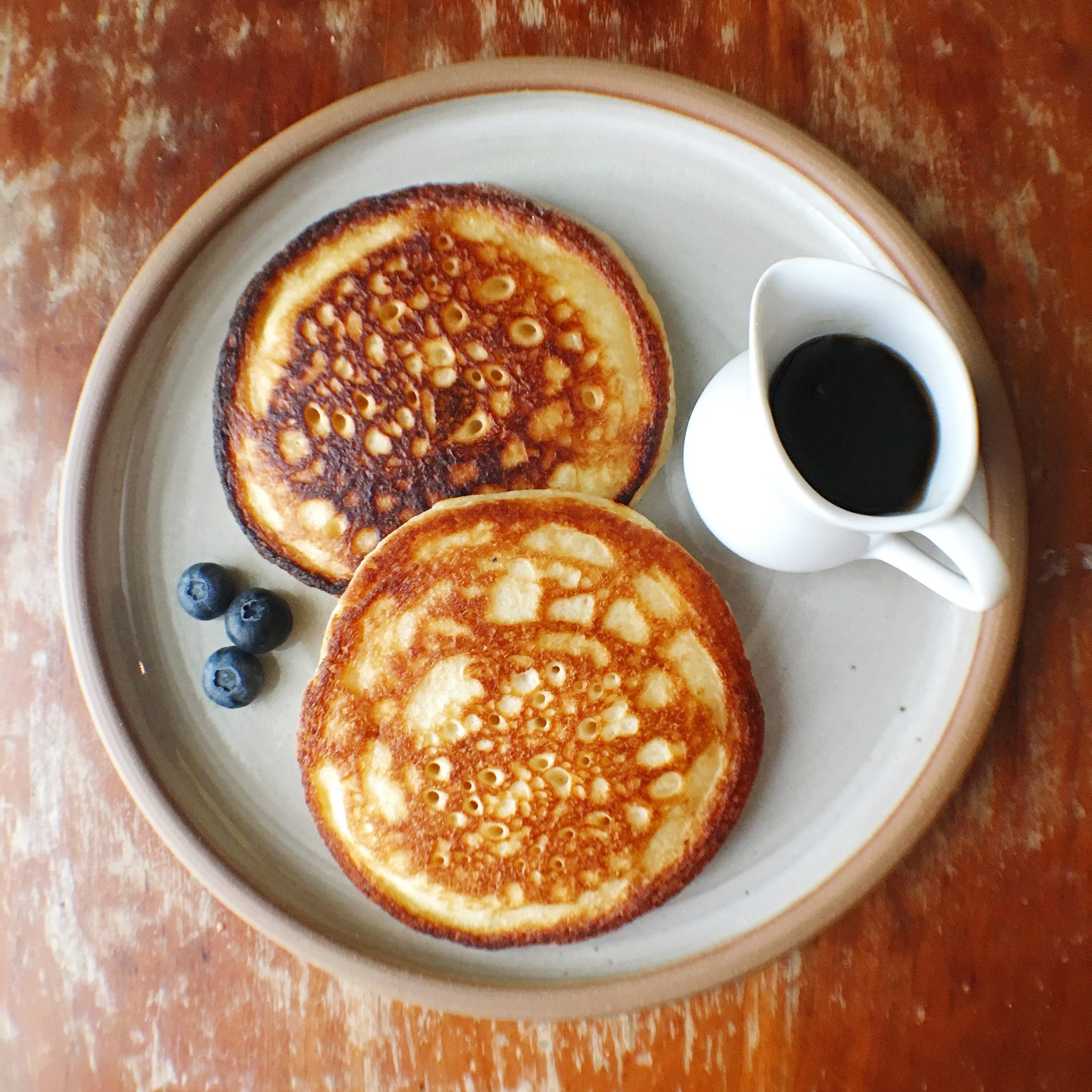 pancakes on rustic plate