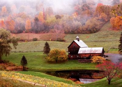 farm and pond in haze and fall colors