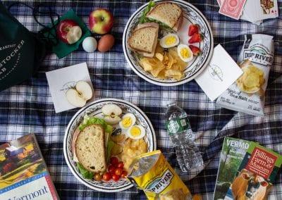 picnic on stadium blanket